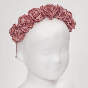 diadema ceremonia flores rosa