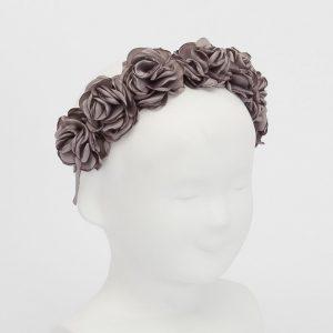 diadema flores para niñas gris