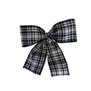 pinza pico de pato niñas escocés blanco y negro